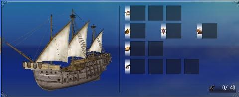 将官用重キャラベル船部品装備画面
