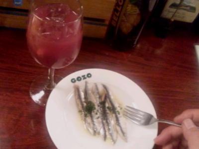 エルポニエンテゴソ自家製サングリアとイワシ酢漬け