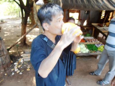 2011年8月タイ-スリランカ旅行スリランカ前半10日シーギリヤ沿道八百屋キングココナッツ飲む親父