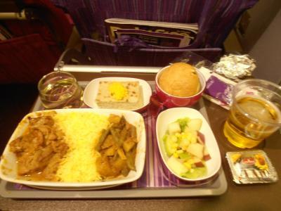2011年8月タイ-スリランカ旅行スリランカ後半17日バンコクへ向かう機内食