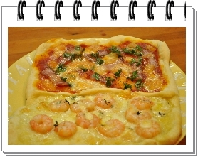 ベーコンピザと海老のピザ