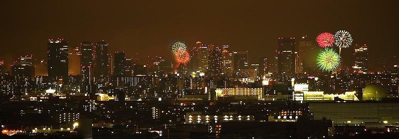 生駒麓からの花火見学