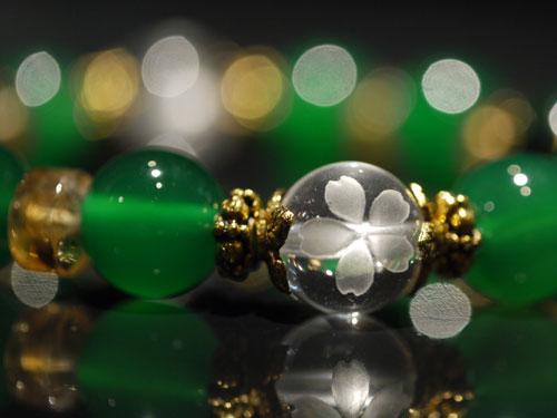 Sサイズグリーンタイガーアイ・シトリン・桜手彫り水晶画像2