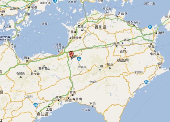 四国4県の県境に近いところ