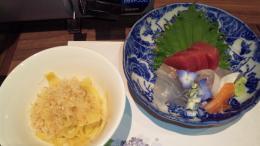 刺身と筍の煮物
