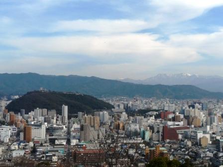 松山総合公園 眺望・松山城と石鎚山