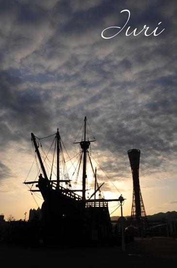 夕日に焼ける船2