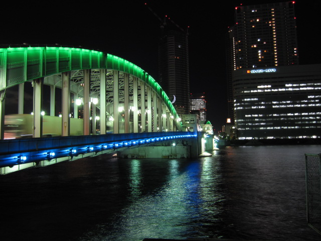 夜景 勝鬨橋 築地側から