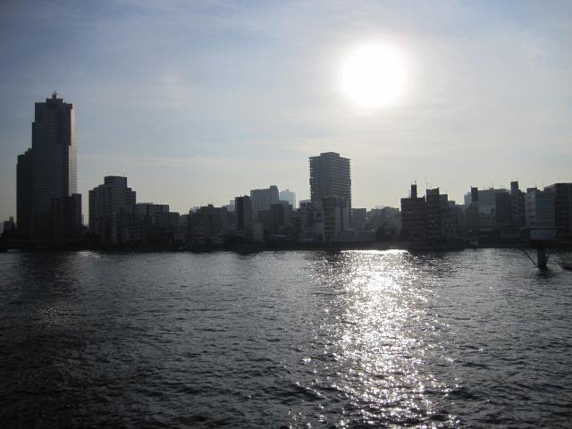 新大橋からの夕日