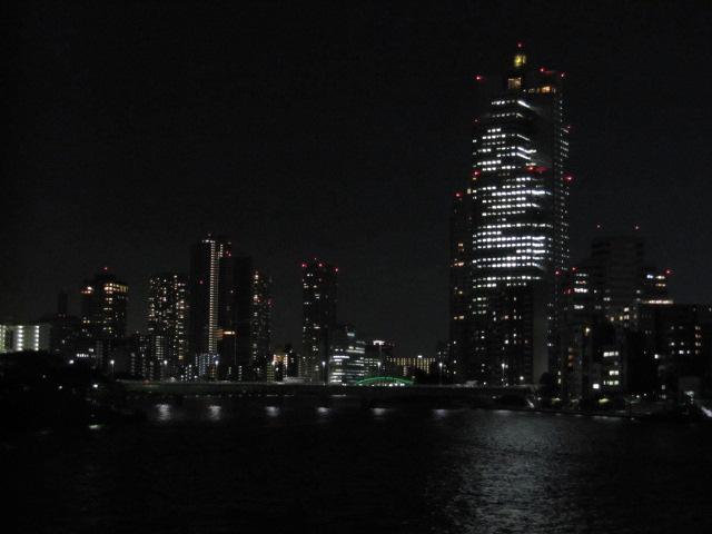 新大橋からの夜景 奥に勝鬨橋