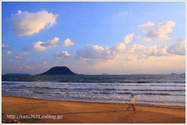 東の浜 犬 散歩 朝日 (2)