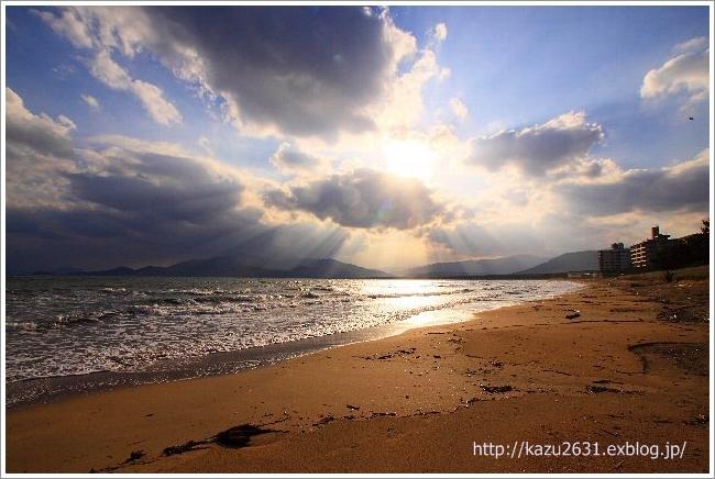 東の浜 犬 散歩 朝日 (3)