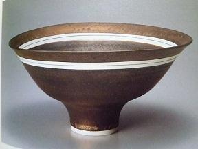 ブロンズ釉白線文鉢