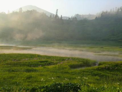 夕暮れの高谷池