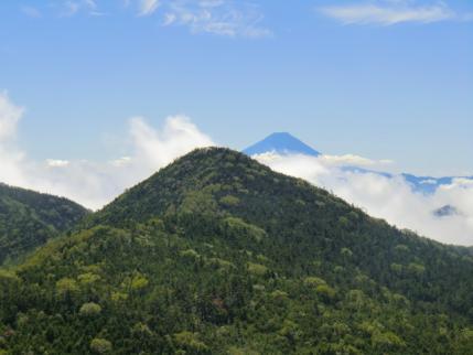 山宝岩から甲武信ヶ岳と富士山