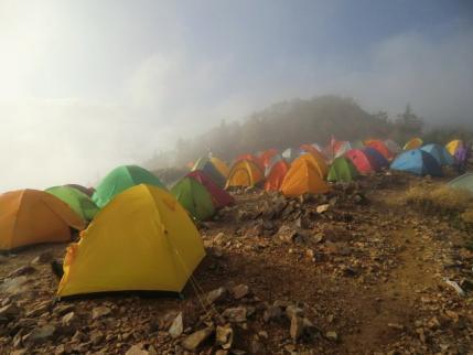 夕方のテント場