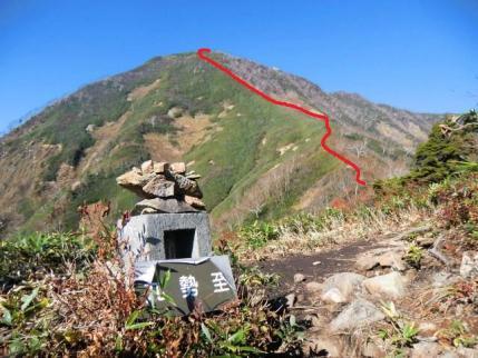 高妻山頂への登山道