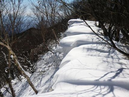 長七郎山の雪庇