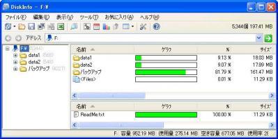 フォルダ使用容量比較(DiskInfo)