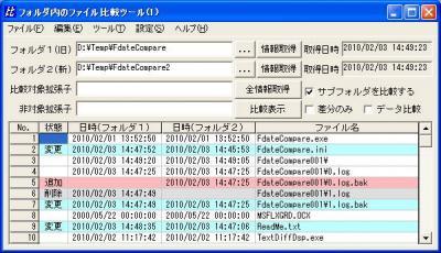 全ファイル(サブフォルダ)比較
