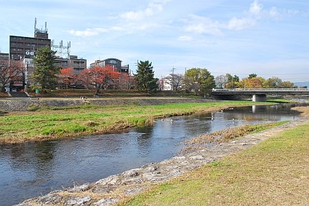賀茂川のほとりで