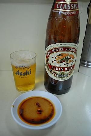 ビンビール、タレ作って待ってます。