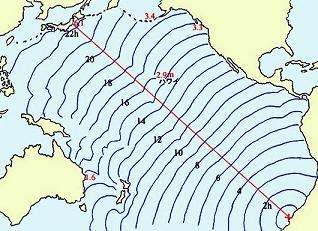 チリ地震津波の伝播図 c