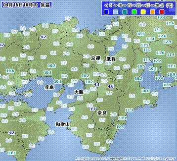 近畿地方 気温 201004151600-00