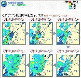 大阪オークレーダー 2010年4月29日 3時代 10分ごと