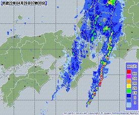 雨雲レーダー 近畿 201004290730-00