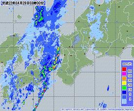 雨雲レーダー 近畿 201004290300-00