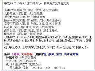 阪神地区 大雨警報発表 気象庁 2010年5月23日