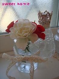 バラ。白赤ランプと。