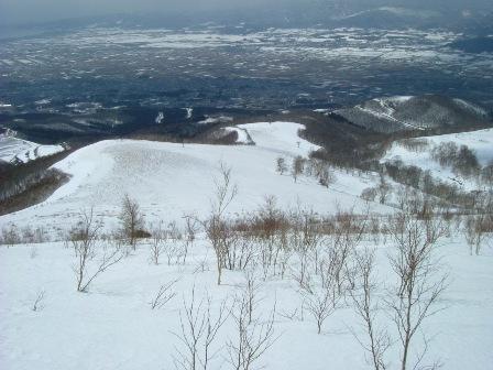 山頂直下のゲレンデ