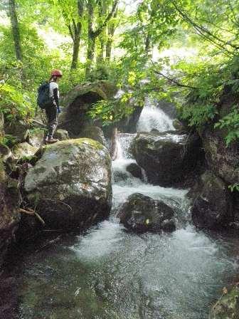 中間部大きな岩を清流が流れる