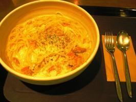 豆乳のクラムチャウダー風スープスパゲティ