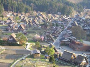 展望台からの白川郷の合掌造り民家園