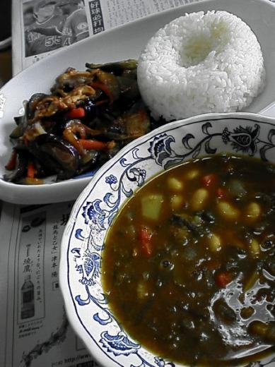 豚肉みそ炒め&カレースープ