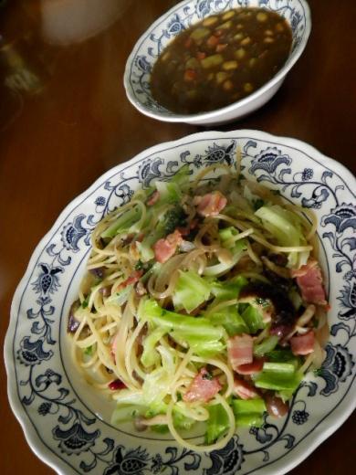 ベーコンと春野菜のパスタ&カレースープ