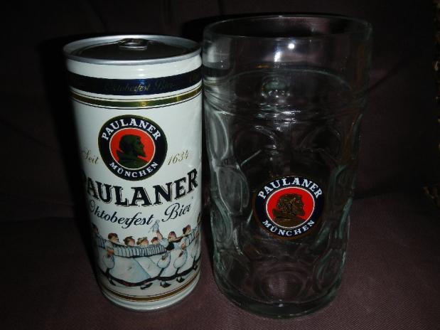 パウラナー オクトーバーフェスト ビア 1L缶&グラス セット (4)