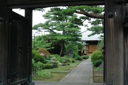 善明寺山門から庭を眺める