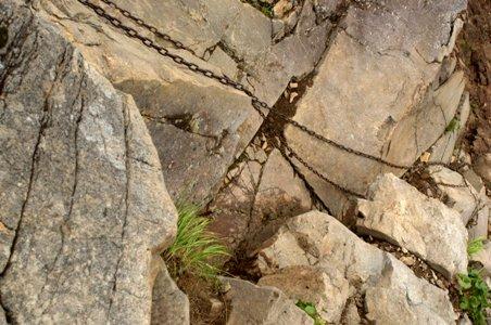 鎖にぶら下がりながら足下を見下ろす