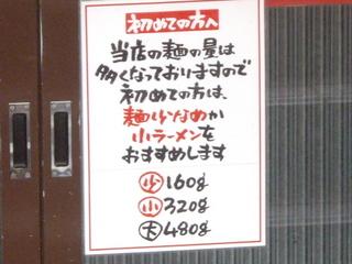 ラーメン金太郎 麺の量