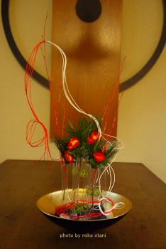 試験管花器正月