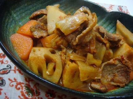 キムチと蓮根の煮物