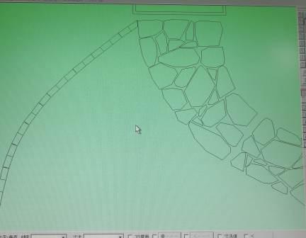 CAD外構図面石とレンガ