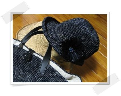 エコアンダリヤの帽子 黒+コサージュ
