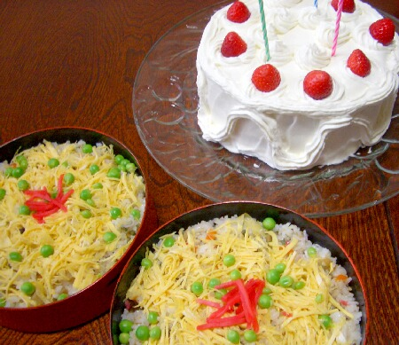 チラシ寿司とケーキ