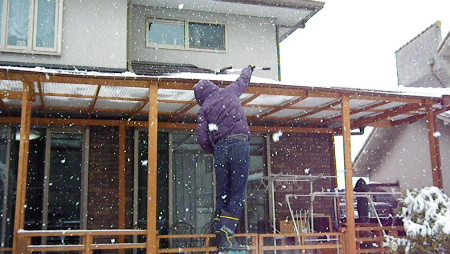 雪かきしないと屋根がつぶれるぅ