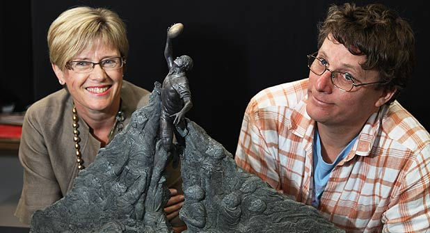 Wellington Mayor Kerry Prendergast and Weta Workshops Richard Taylor with the miniature of a sculpture which has been proposed as a centre piece for Wellingtons hosting of the 2010 Rugby World Cup.